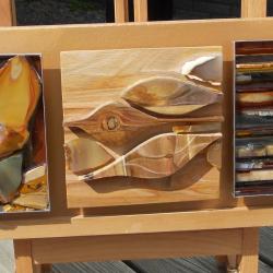 strikje opdracht in hout en steen