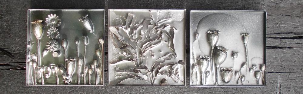 strikje zilver collage 14x14cm
