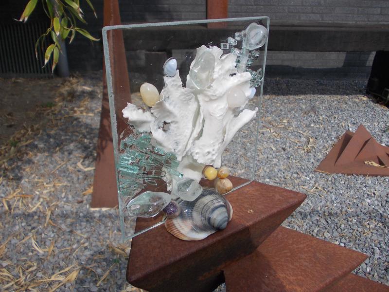 strikje glaspaneel porselein 14x14cm
