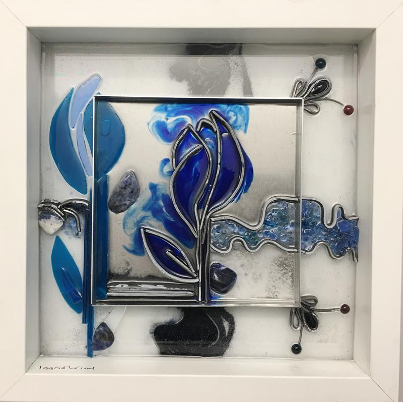 strikje delfts blauw collage 25x25cm